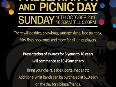 SAVE THE DATE: Ponds FC Presentation & Picnic Day - 16th October 2016 10.30am - 5pm
