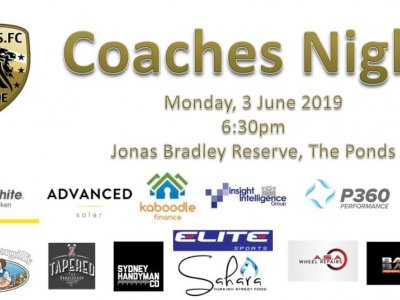 Ponds FC Coaches Night - 3/06/2019